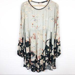 Uncle Frank Blue Floral Boho Tunic/Dress Size M